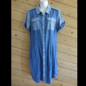 Jones New York Denim Button Up Shirt Dress Blue
